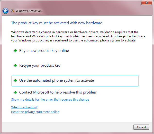 The product key must be activated with new hardware